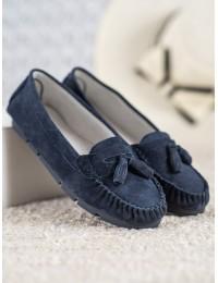 Stilingi natūralios odos mėlyni mokasinai - SG20-7770N