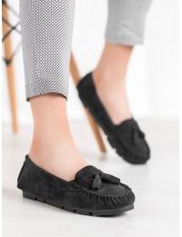 Stilingi natūralios odos juodi mokasinai - SG20-7770B