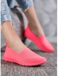 Stilingi SLIP ON stiliaus koralinės spalvos bateliai - CB858F