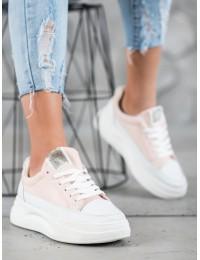 Madingi aukštos kokybės balti/rausvi batai su platforma - LLQ207W/P