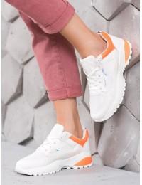 Balti patogūs aukštos kokybės sportiniai bateliai su oranžinės spalvos apdaila - H832OR