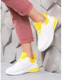 Balti patogūs aukštos kokybės sportiniai bateliai su geltonos spalvos apdaila\n - R11YD1982-5Y