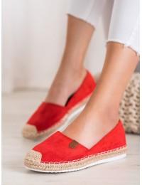 Stilingi raudonos spalvos zomšiniai bateliai pintu padu - JEY-2R/