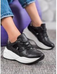 Juodi aukštos kokybės batai su platforma - Y616-B