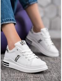 Balti stilingi odiniai laisvalaikio bateliai\n - L8036SN