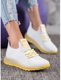 Baltos spalvos sportiniai batai su geltonos spalvos apdaila - J96-3W/Y