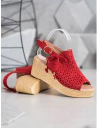 Aukštos kokybės zomšinės raudonos spalvos stilingos basutės  - PH8069R