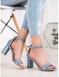 Elegantiškos mėlynos spalvos aukštakulnės basutės - YC-150BL