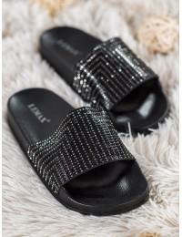 Sodrios juodos spalvos šlepetės su blizgučiais - S19053B
