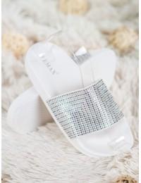Skaisčiai baltos spalvos šlepetės su blizgučiais - S19053W