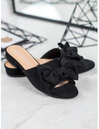 Elegantiškos juodos spalvos šlepetės su kaspinėliu - Y006B/