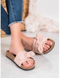 Zomšinės stilingos rožinės spalvos šlepetės - 20SD21-2409P