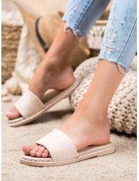 Smėlio spalvos zomšinės stilingos šlepetės - N-77BE