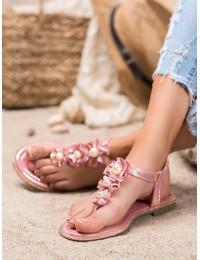 Rožinė spalvos basutės su gėlėmis ir perlais - LS22CHA