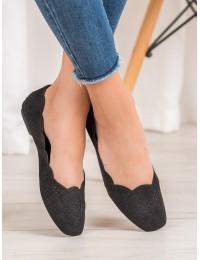 Stilingi juodi bateliai su patogiu bangelės formos krašteliu - X564B