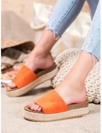 Nuotaikingos apelsinų spalvos zomšinės šlepetės - 10-215OR