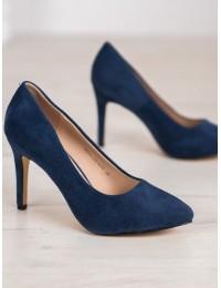 Zomšiniai klasikinio stiliaus mėlynos spalvos aukštakulniai - 9PB35-1095N