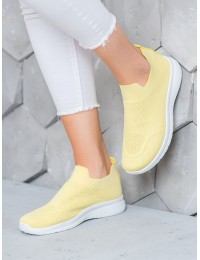 Švelnios geltonos spalvos SLIP ON stiliaus patogūs aukštos kokybės bateliai - BB71Y