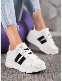 Baltos spalvos stilingi balti batai su platforma ir aukso/ juodos spalvos detalėmis - AB5631W/N