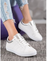 Visuomet stilingi balti odiniai bateliai kasdienai - AB689W/S