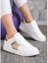 Aukštos kokybės balti stilingi odiniai bateliai - AB725W/GO