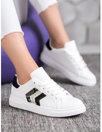 Aukštos kokybės balti stilingi odiniai bateliai - AB725W/B