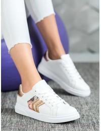 Aukštos kokybės balti stilingi odiniai bateliai - AB725W/CH