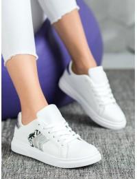 Aukštos kokybės balti stilingi odiniai bateliai - AB725W/S
