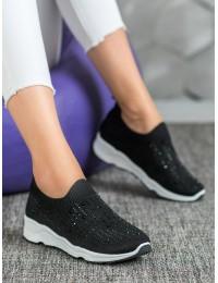 Juodi madingi batai papuošti kristalais - 120B/