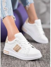 Aukštos kokybės balti odiniai stilingi bateliai - 201W/BE