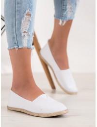 Stilingi balti SLIP ON stiliaus medžiaginiai bateliai - WI-32-183W