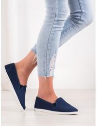 Mėlynos spalvos stilingi medžiaginiai bateliai - 2016N