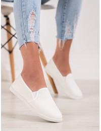Baltos spalvos stilingi medžiaginiai bateliai - 2016W