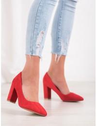 Elegantiški raudonos spalvos zomšiniai aukštakulniai - S12-R