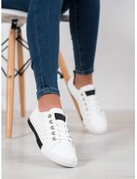 Balti stilingi minkštos odos suvarstomi bateliai - CB866B