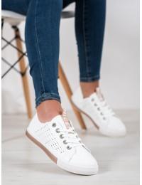 Balti stilingi minkštos odos suvarstomi bateliai - CB865CH