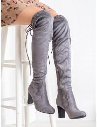 Pilkos spalvos ilgi zomšiniai batai virš kelių - HX196LT.G