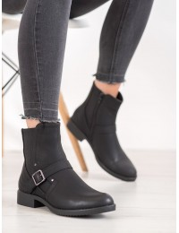 Stilingi juodi batai dekoruoti stilingu dirželiu - A8001B