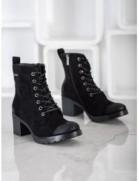Juodos spalvos zomšiniai aukštos kokybės suvarstomi batai\n - XY21-10553B