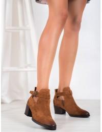 Zomšiniai aukštos kokybės juodi batai papuošti stilingu dirželiu - XY21-10546C
