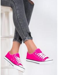 Ryškios rožinės spalvos suvarstomi medžiaginiai bateliai - LD8A07FU
