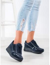 Tamsiai mėlyni natūralios odos išskirtiniai stilingi batai su platforma - DP943/20N
