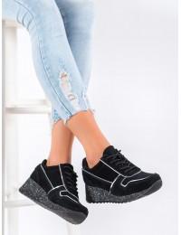 Juodos spalvos natūralios odos išskirtiniai stilingi batai su platforma - DP943/20B