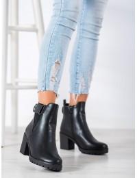Stilingi patogūs juodos spalvos batai patogiu plačiu kulnu - H5852B