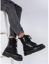 """Juodi aukštos kokybės krokodilo odos rašto madingi """"Martens"""" stiliaus batai - 7-X8240B"""