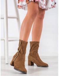 Camel spalvos stilingi zomšiniai batai su juostele šone - HF211C