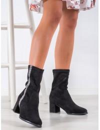 Juodos spalvos stilingi zomšiniai batai su juostele šone - HF211B