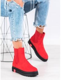 Stilingi aukštos kokybės raudoni zomšiniai batai su platforma - NS139R