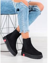 Stilingi aukštos kokybės juodi zomšiniai batai su platforma - NS139B
