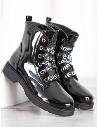 Madingi aukštos kokybės lakuotos odos juodi batai - HX21-16140B